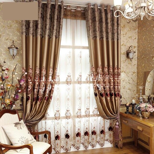 Rideaux sur mesure de luxe tissu rideaux bronzage creux rétro ...