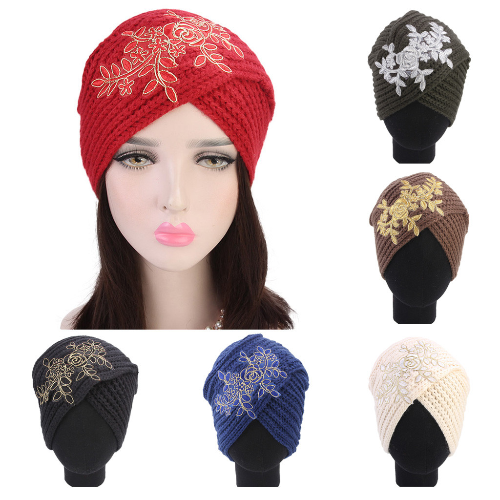485c15f282f4 Women ladies retro winter warm knitting hat turban brim hat cap flower cap  winter hats for