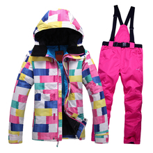 Women skiing sets jackets ski suits jackets + pants snowboard clothing, snowboard ski jacket Waterproof Breathable Wind warm