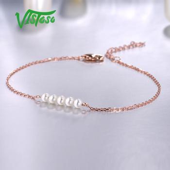 Rose Gold Freshwater White Pearl Bracelet 2