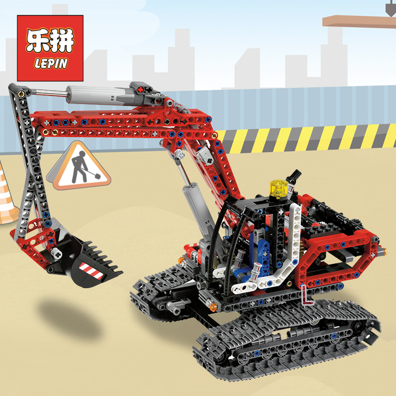 Lepin 20025 Genuine Technic Series the Red Engineering Excavator Set Building Blocks Bricks Educational Toys Boys Gift 8294 196pcs building blocks urban engineering team excavator modeling design
