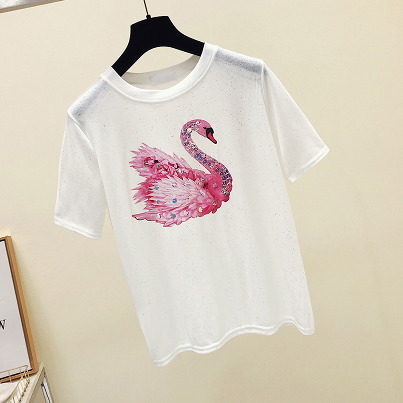 Sequined T shirt women t-shirt cotton top tee shirt femme kawaii tshirt women tops summer t-shirts camisetas mujer verano 2018