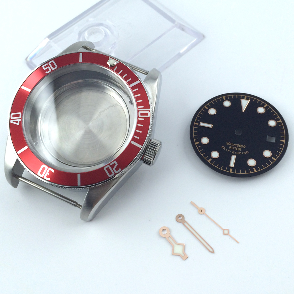 41mm red bezel sapphire cystal Watch Case dial hand fit ETA 2824 2836 MOVEMEN цена и фото