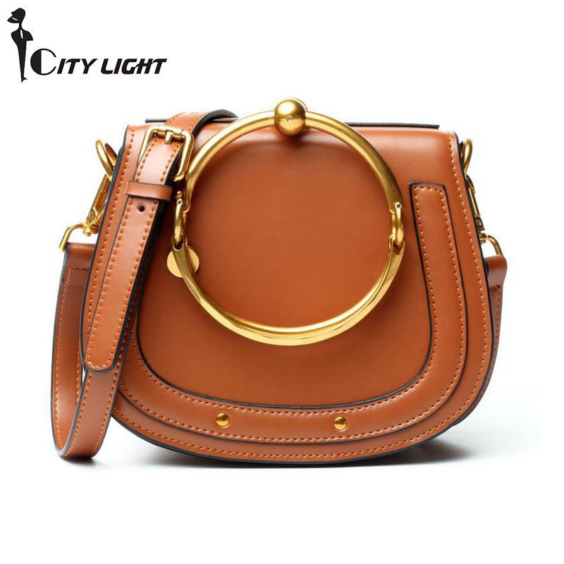 New Fashion Metal Ring Bags Brands Designer Women Genuine Leather Cloe Bag High Quality Real Cowhide Shoulder Crossbody Bags 2018 new style genuine leather woman handbag vintage metal ring cloe shoulder bag ladies casual tote fashion chain crossbody bag