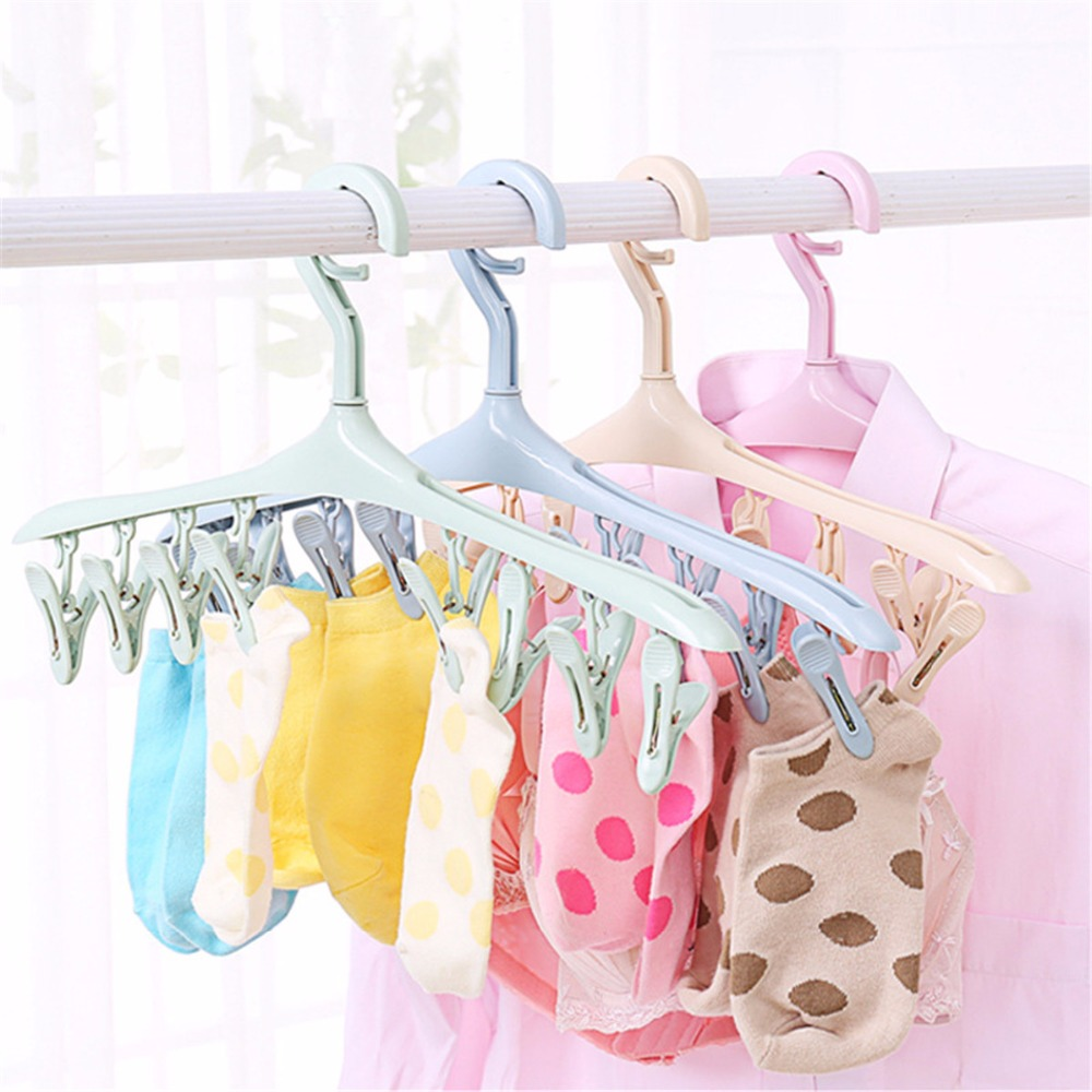 Clothes Pegs 8 Clips Plastic Hangers Underwear Socks Bra Dryer Hook Rack Clothes Hanging Dry Bathroom Laundry Tool