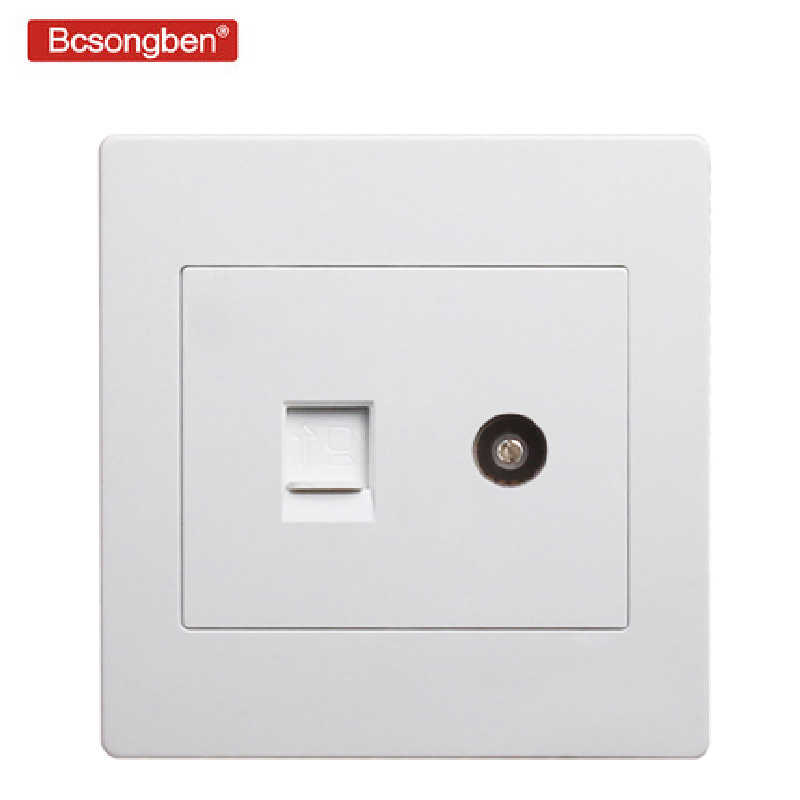 Type 86 Luxurious Elegant white wall weak electricity socket TV computer outlet