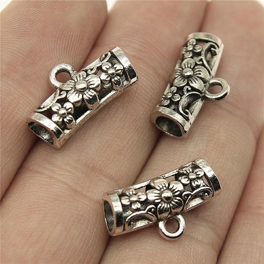 WYSIWYG 12pcs 19x10x7mm Tibetan Silver Bail Beads For Jewelry Making DIY Antique Silver Flower Beads Bails CharmsWYSIWYG 12pcs 19x10x7mm Tibetan Silver Bail Beads For Jewelry Making DIY Antique Silver Flower Beads Bails Charms