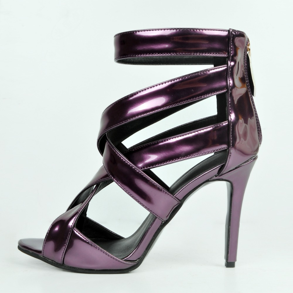 ФОТО Popular Women Sandals Open Toe Thin Heels Sandals High-quality Purple Shoes Woman Plus US Size 4-15