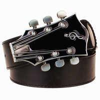 Fashion Men's belt metal buckle belts Retro guitar Street Dance accessories Performance apparel hip hop waistband novel belt