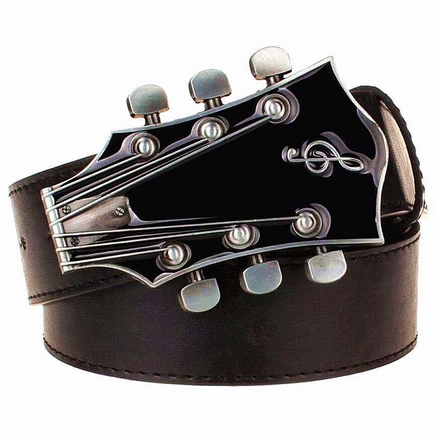 Fashion belt Retro guitar buckle Street music Dance accessories Ukulele Performance apparel hip hop waistband novel belt