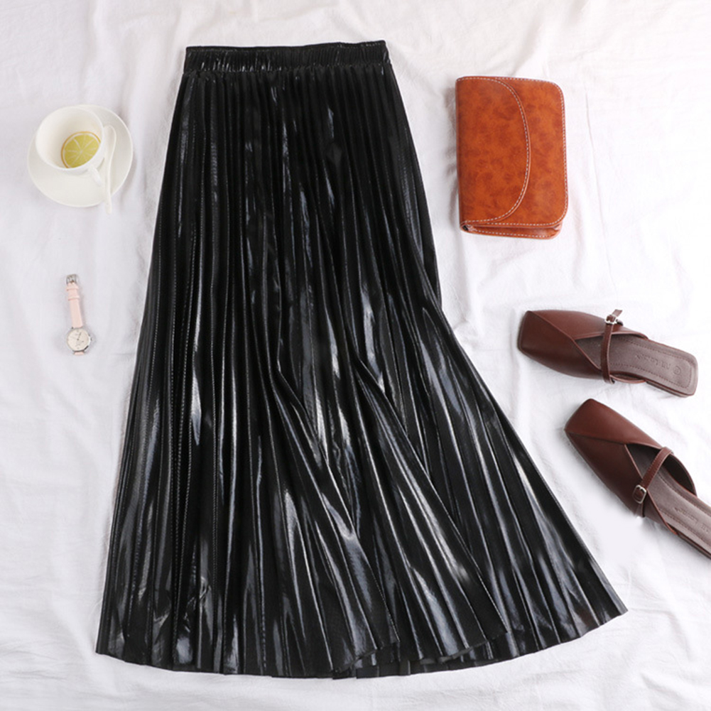 HTB1CnGvU4TpK1RjSZFMq6zG VXau - Autumn Women Pleated Skirt Elegant High Waist Women Long Skirt Ladies Silver Gold Metallic Shiny Ankle-Length Maxi Skirt