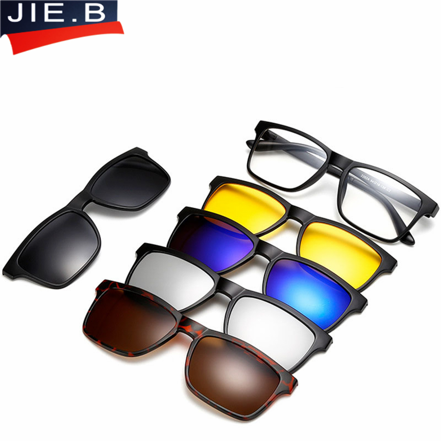 JIE.B <font><b>5</b></font> <font><b>Lens</b></font> Male Eyeglasses Frame Full Frame Glasses Frame Belt <font><b>Magnet</b></font> <font><b>Clip</b></font> <font><b>Sunglasses</b></font> Myopia Glasses Polarized <font><b>Sunglasses</b></font> Nvgs image