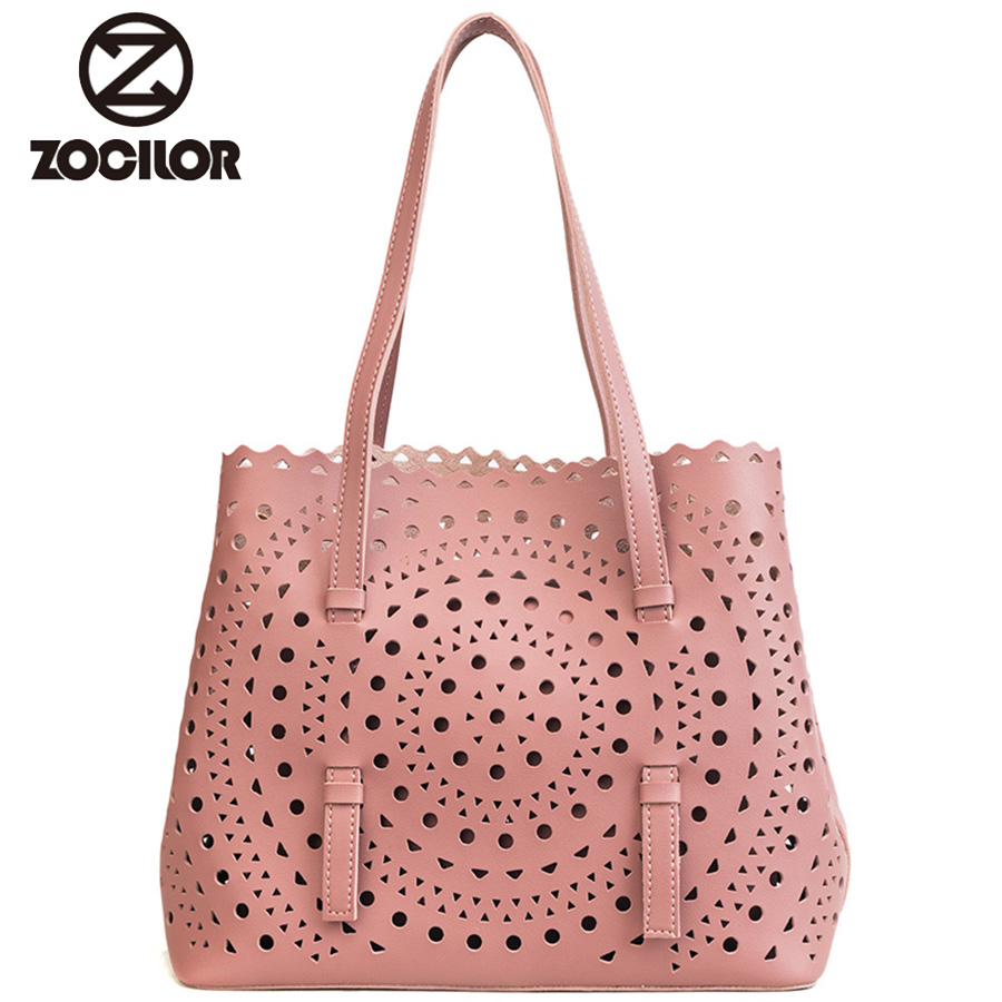 Fashion Hollow two sest Women Handbags Large Capacity Tote Bag PU Leather Shoulder Bag Ladies Bags For Women bag sac a main 2018 barbie fashion casual shoulder bags for women pu leather tote bag large capacity hasp single shoulder woman bag purse new