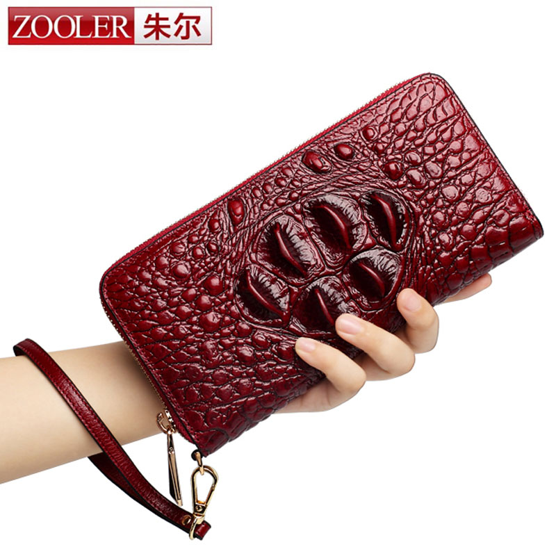 ZOOLER Crocodile Genuine Leather Women Wallet Lady Large Compartment Leather Purse Brand Designer Female Coin Purse Card Holder ouluoer thailand imported crocodile skins the lady women purse with a purse and a long women wallet