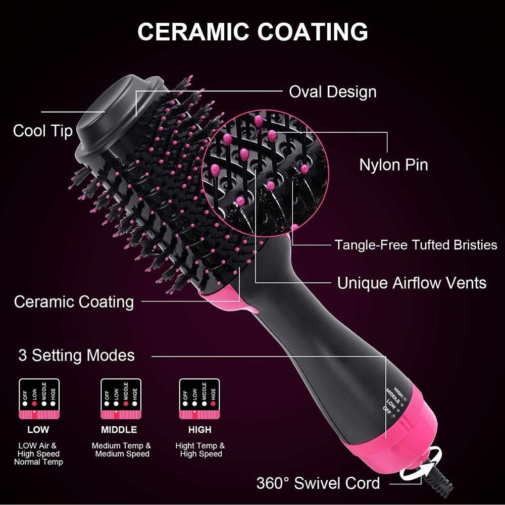 Hot Air Brush One Step Hair Dryer Volumizer Rotating Hair Roller Styling Comb Negative Ion Generator Hair Dryer Curler Comb (2)