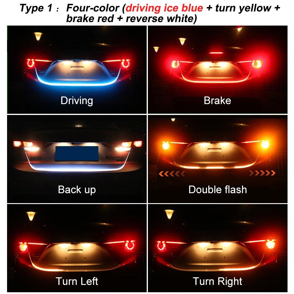 Auto Hinten Stamm Schwanz LED Streifen Beleuchtung Licht Dynamische Streamer Warnung Licht Bremse Blinker Reverse Leds Auto-styling