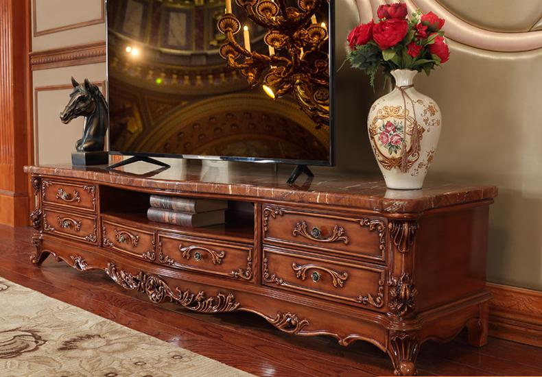 American House Marble Tv Cabinet, Solid Wood Carving Cabinet,  Living Room Furniture, European Tv Cabinet.
