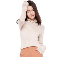LOWEST PRICE Hot Sales Ruffled Collar Cashmere Blend Knitted Pullover Sweater Female Hollow Design Flare Sleeve