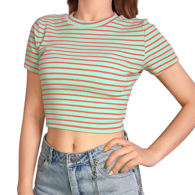 2019 New Fashion Color Block Striped O Neck Short Sleeve Tshirt Women Lace Up Slim Knitted T Shirt Sexy Hollow Out Crop Top in T Shirts from Women 39 s Clothing