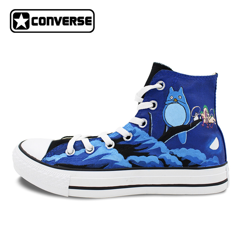 Black Skateboarding Shoes Brand Converse All Star Design Anime Shoes Hand Painted My Neighbor Totoro Men Women Canvas Sneakers women men converse all star canvas shoes vocaloid hatsune miku expo design hand painted sneakers skateboarding shoes gifts