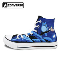 Black Skateboarding Shoes Brand Converse All Star Design Anime Shoes Hand Painted My Neighbor Totoro Men Women Canvas Sneakers