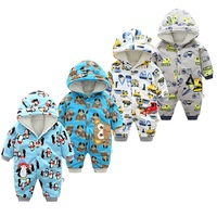 fashion Hooded Baby Rompers 2019 new Winter Thick Climbing Clothes Newborn Boys Girls Long sleeve Romper kids Outwear