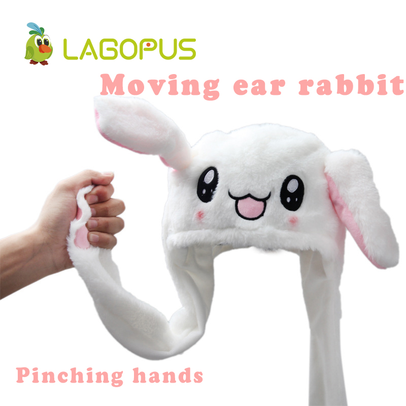 lagopus Moving Plush Toys Ear Rabbit Hat Toys Funny Pinching Bunny Rabbit Plush Soft Stuffed Animals Best Gift New Hot Sale