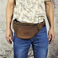 Fashion Genuine Leather Waist Bag for Men Casual Shoulder Fanny Pack Leather Belt Bag Waist Pack Bum Bag Money Belt Waist Pouch