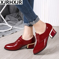 XJRHXJR Brand New Patent Leather Casual Women Oxford Shoes Lace Up 5cm Med Square Heels Black Red Large Size 40