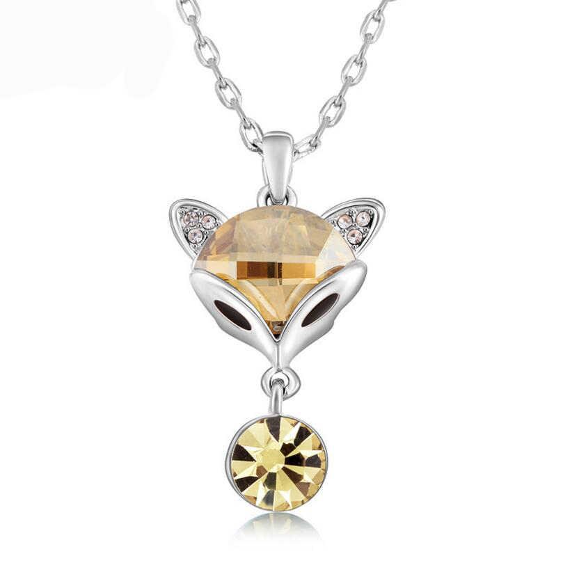 W stylu Vintage marki Fox kształt kryształ wisiorek naszyjnik klasyczny okrągły Rhinestone naszyjniki i wisiorki dla kobiet biżuteria ślubna