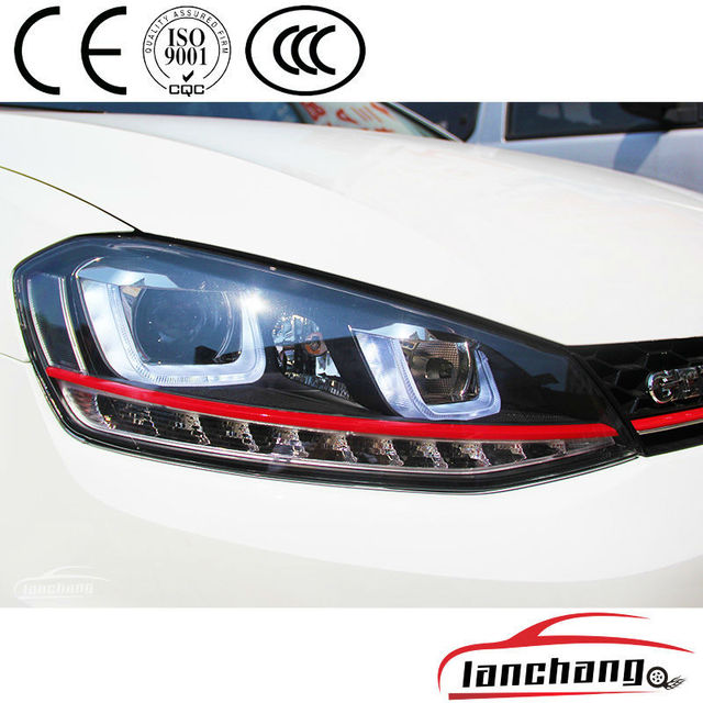 Vw Golf 7 Headlights Red Line With Led Drl Volkswagen Golf