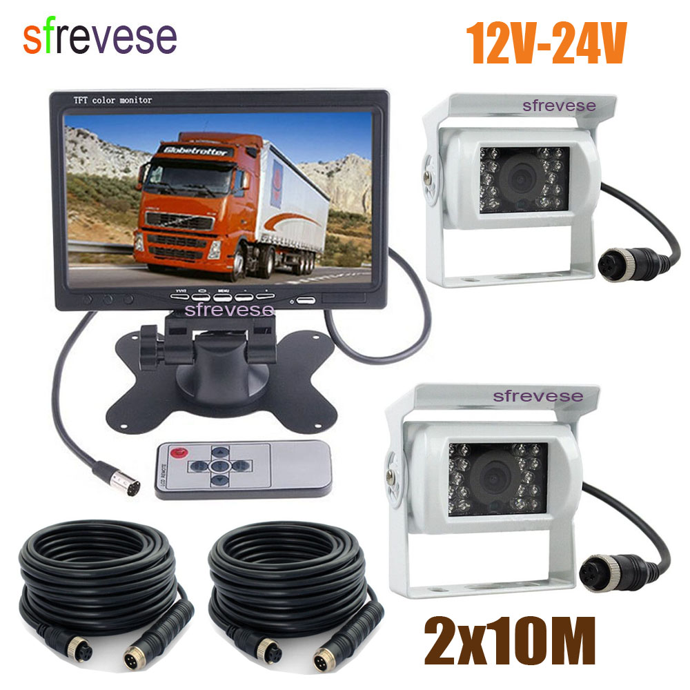 7 LCD Monitor Car Rear View Kit + 2 x 18 IR Night Vision CCD Reverse Parking Backup Camera 4Pin Waterproof For Bus Truck White 18 ir reverse camera new 7 lcd monitor car rear view kit car camera bus and truck parking sensor camera 15m or 20m cable