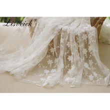 Factory direct sales 1yard Beautiful Small Floral Cotton Embroidery Lace Fabric Wedding Dress DIY skirt Clothing Accessories
