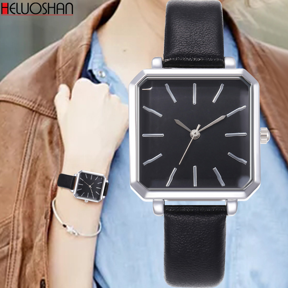 2019 Top Brand Square Woman Bracelet Watch Contracted Leather Crystal WristWatches Women Dress Ladies Quartz Clock Dropshiping