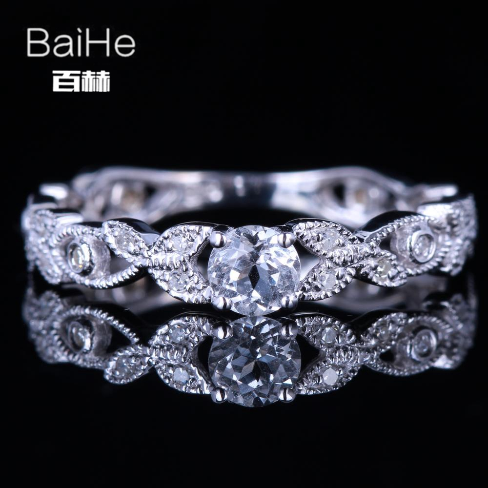 BAIHE Sterling Silver 925 0.22ct Certified Flawless Round CUT 100% Genuine White Topaz Wedding Women Trendy Fine Jewelry Ring цена