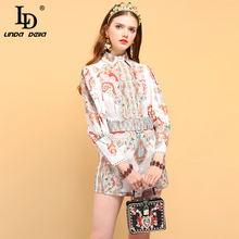 LD LINDA DELLA Summer Womens Shirt Suits Lantern Sleeve Floral Printed and Vintage Belted Short Pieces Sets 2019