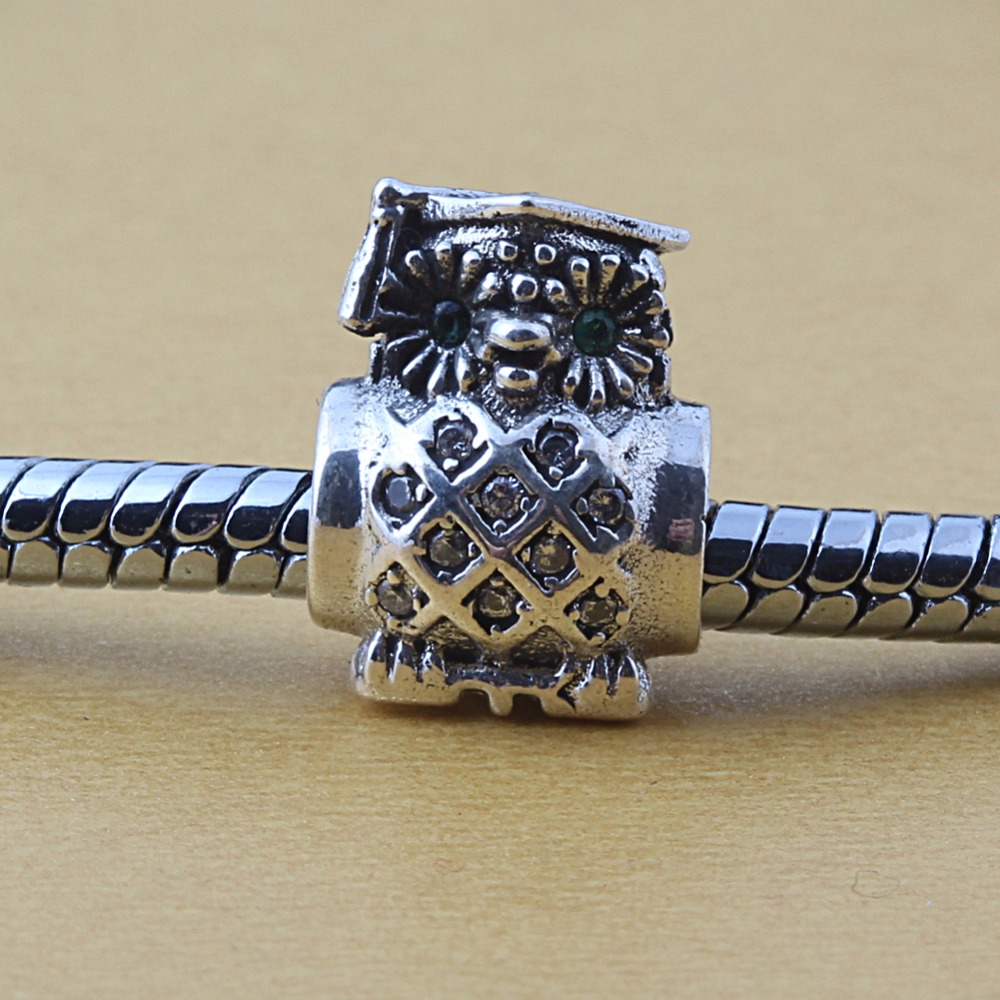 ZMZY Jewelry 925 Sterling Silver Best Owl Charm Beads Fits Pandora Charms Bracelets
