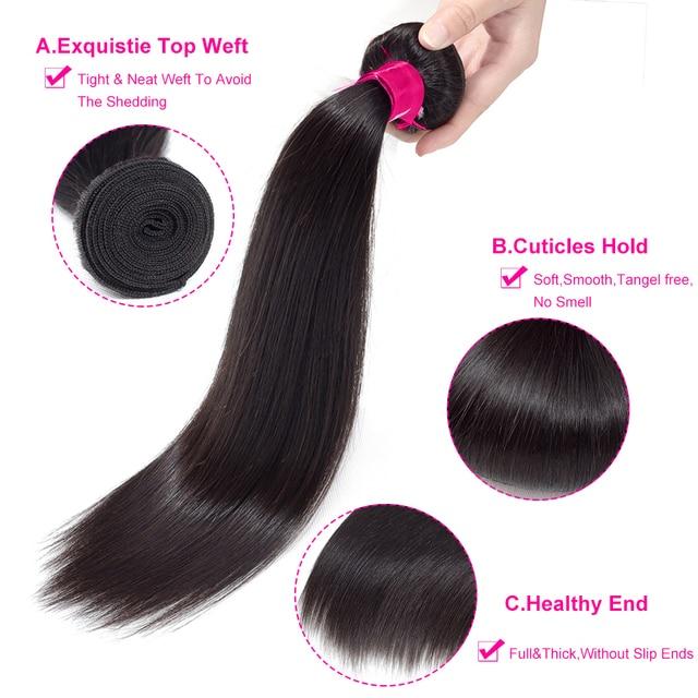 BY Human Hair Bundles With Closure Brazilian Hair Weave Bundles With Closure Straight Hair Bundles With Closure Hair Extension 2