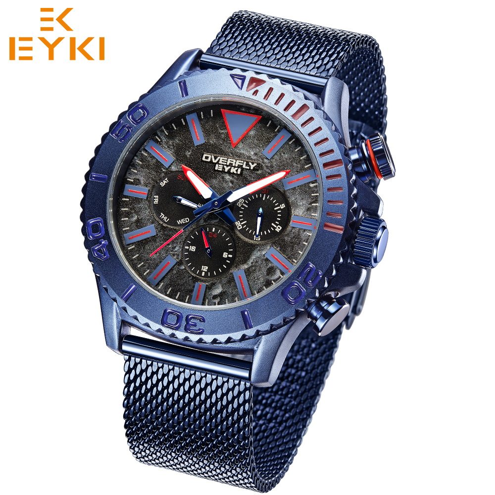 EYKI top brand men sport watch quartz wristwatches for male waterproof luminous hands steel strap relogio masculino montre homme