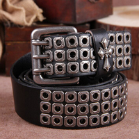 100 Top Layer Luxury Designers Men Rivet Punk Belt Cow Genuine Leather Cintos Masculinos Male Women