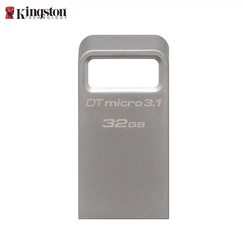 KINGSTON Original mini usb flash 128GB Stylish metal pen drive USB 3.1 Gen 1 (USB 3.0) 16GB 32GB usb stick Silver Ultra-small цена и фото