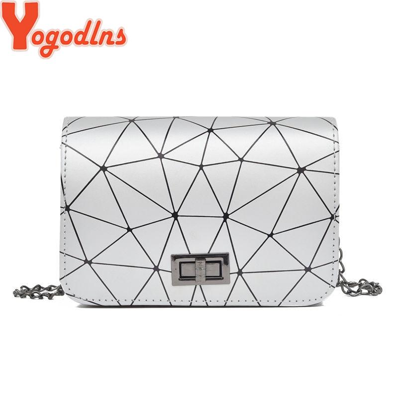Yogodlns 2019 New Fashion Dimond Chain Black Purse Women Shoulder Bag Plaid Lady Mini Crossbody Bag PU Leather Lock Flap Handbag