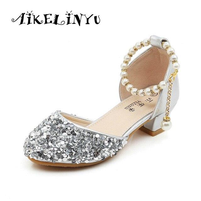 1410898bc821 Girls High Heel Sandals Summer Crystal Shoes Girl Princess Elsa Anna Shoes  Girl Pink Silvery Wedding Shoes Kids Performance Shoe