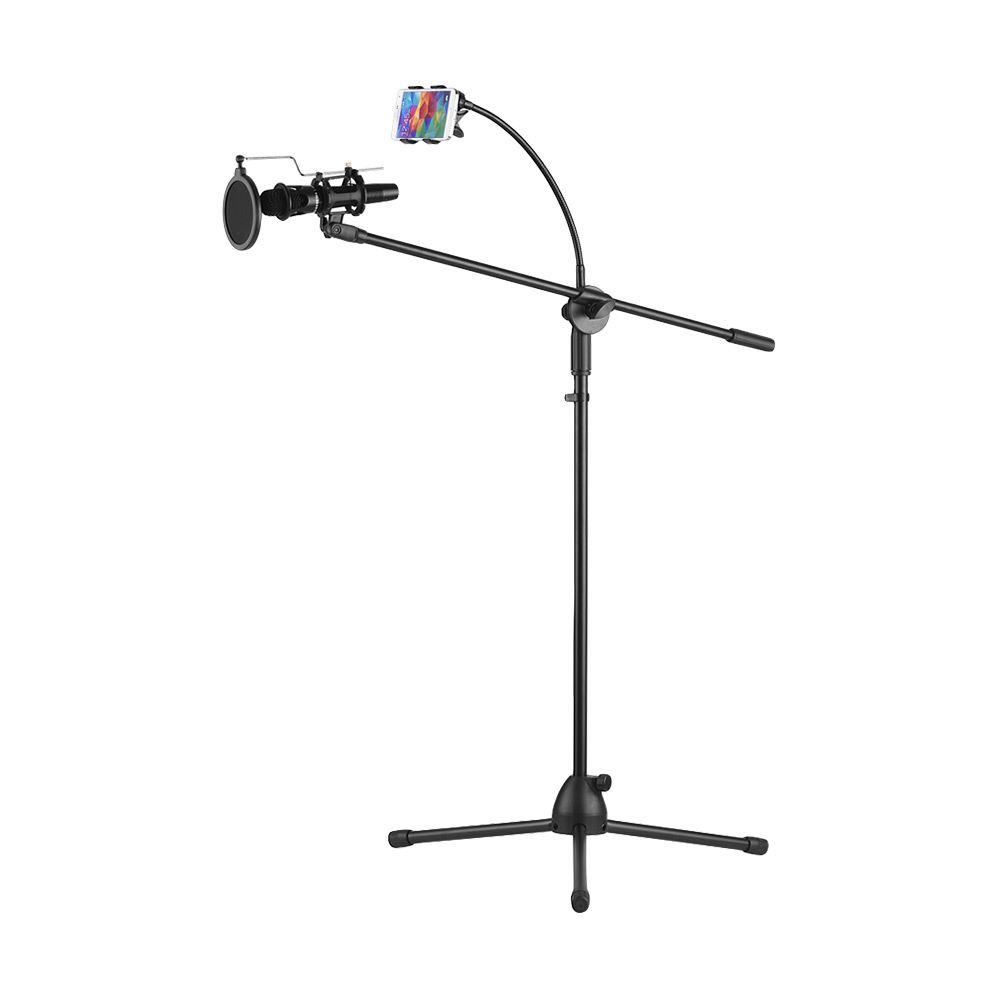 Metal Microphone Floor Stand Tripod Adjustable Height with