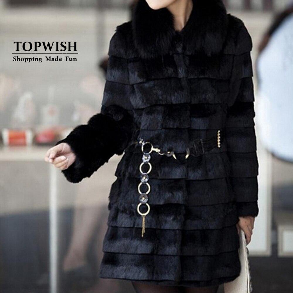 Luxury Big Real Fox Fur Collar Long Coat Stripe Nature Pure Genuine Rabbit Fur Jacket Factory