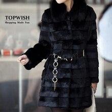 Роскошное длинное пальто с воротником из натурального Лисьего меха, куртка с натуральным кроличьим мехом в полоску, от производителя, ОЕМ мех, TFP963