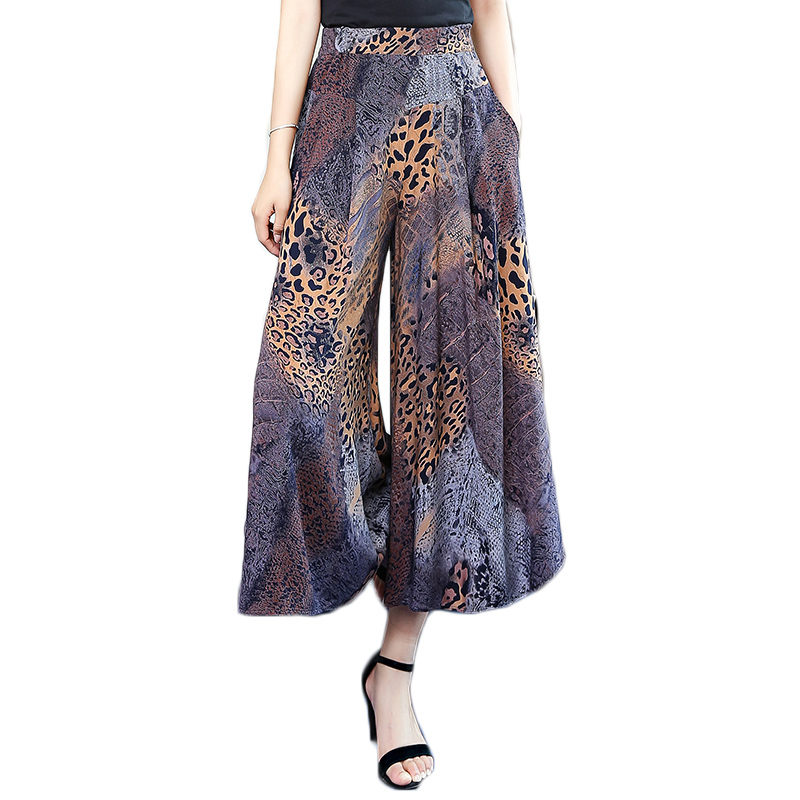Summer New Wide Leg Pants Women's Fashion Large Size Floral Trousers Elastic High Waist Pantalones Casual Mujer Skirt Pants F645