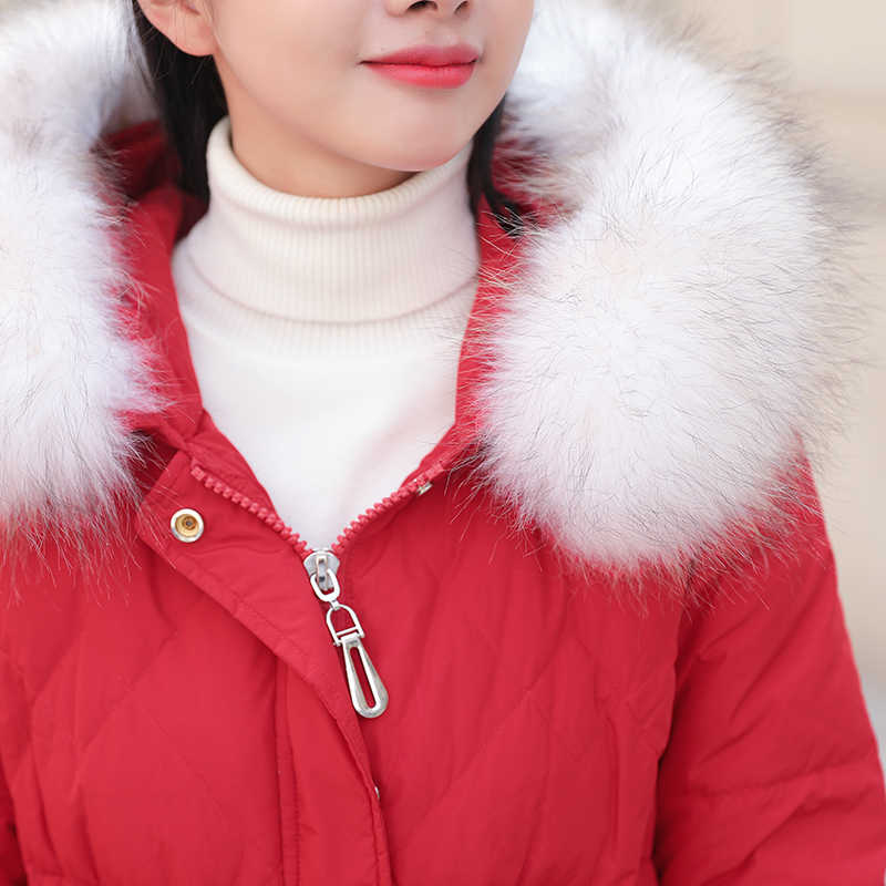 AYUNSUE 2019 женский пуховик женский с капюшоном длинное зимнее пальто женский меховой воротник женские куртки Doudoune Femme KJ1052