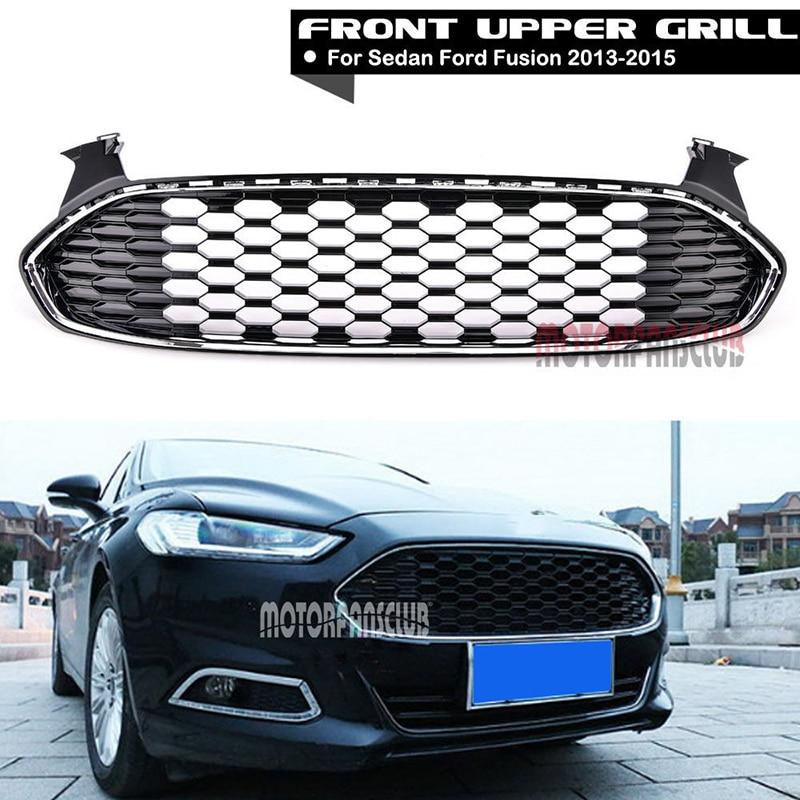 все цены на 1Pcs Car Racing Grill For Ford Fusion 2013-2015 Grille ABS Black Trim Radiator Chrome Front Bumper Upper Modify Honeycomb Mesh онлайн