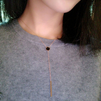 YUN RUO Fashion Brand Rose Gold Color Vintage Elegant Black Pendant Necklace Choker Chain 316L Stainless